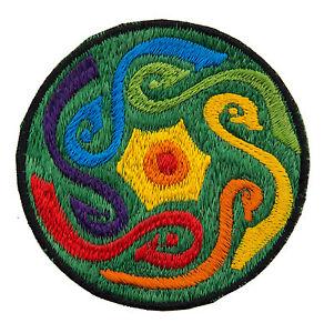 Gestickte Patches Schleife Psychedelisch Grün Schamane Aus Hand Tibet Nepal 8565