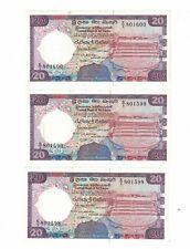 SRI LANKA Lots of 3 Notes x 20 Rupees 20/11/1988 Pick# 97a Choice UNC.(#1857)