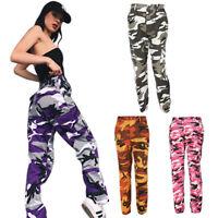 Pantalones Largos de Camuflaje Suelto de Alta Cintura de Moda de Mujer Pant V6O1