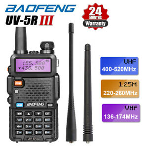 BAOFENG UV-5R III Tri-Band UHF/VHF Walkie Talkie 5W Two Way Ham Radio + Earpiece