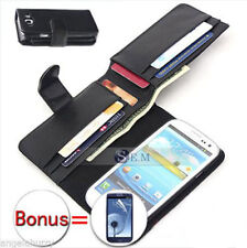 Black Galaxy S3 i9300 i9305 Case Leather Wallet Cover For Samsung Galaxy S3