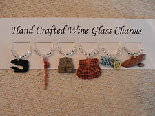 """""""FISHING""""  THEMED SET OF 6 Hand Crafted Wine Glass Charms"""