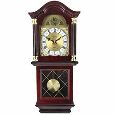 "BEDFORD 26""MAHOGANY CHERRY OAK FINISH GRANDFATHER WALL CLOCK with PENDULUM&CHIME"