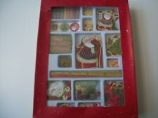 Box of Christmas Craft Items - Embellishments, Stickers, Tags, Ribbons, Wooden