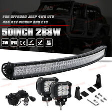 """Curved 50"""" Led Light Bar + 2pc 18W Cube Pods For Chevy Silverado 1500 2500 3500"""
