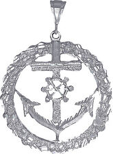 Nugget Design Sterling Silver Anchor Pendant Necklace Large and Heavy with Chain