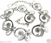 VINTAGE STYLE TAXCO MEXICAN STERLING SILVER FLORAL FLOWER BEAD NECKLACE MEXICO