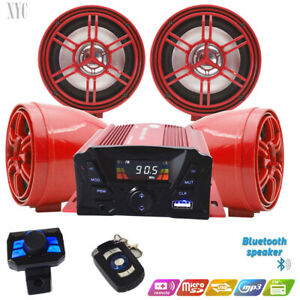 @ATV Anti~Theft Speakers USB Audio System Stereo Bluetooth Motor Remote Red