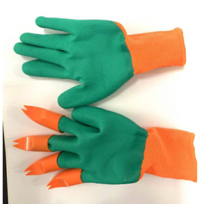 Outdoor Garden Gloves for Digging Planting Pake with ABS Plastic Claws Gardening