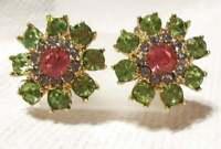 "Vintage Pink Green Blue Rhinestone Earrings Gold Rhodium Plated 1 1/8"""
