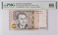 Armenia 2000 Dram 2018 P 62 GEM UNC PMG 66 EPQ