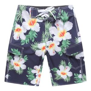 Men Board Shorts Swim Beach wear Trunk Spandex Pockets Blue Hibiscus Floral