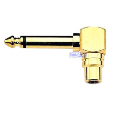 """6.35mm MONO 1/4"""" Male Jack Plug to RCA Socket RIGHT ANGLE Audio Adapter GOLD"""