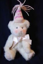 Boyds Bears Plush - Happy 1ST First Birthday Girl White w/ Pink Teddy Bear