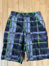 Youth Boys Swim Shorts Trunks Drawstring Size 10 12 Medium M Black Gray Plaid