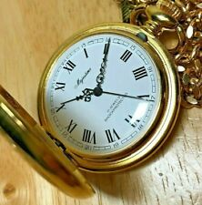 Vintage Majestime 17 Jewel Gold Tone Ornate Roman Hand-Winding Pocket Watch Hour