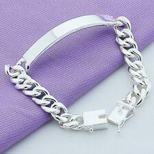 Men's Jewelry 925 Sterling Silver Bracelet Deck 10mm Sideways Silver Chain 8''