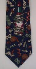 Tabasco Necktie Novelty Tie Spice Bottle Pasta Blue Silk Made In USA