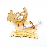 Geldgeschenk, Silber Hochzeit 25, Hufeisen Herz mit Namen des Brautpaares, Holz