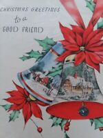 1940s Vtg Peek Window BELL Scenes GOOD FRIEND Rust Craft CHRISTMAS GREETING CARD