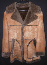 Vtg. Shearling Coat Marlboro Man Rancher Style Lakeland Plush Sheepskin 42