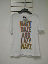 ASOS New Mens Hazy Daze And Lazy Wayz White Large Crew Neck T Shirt NWT
