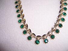 """Vintage Dark GREEN RHINESTONE & gold-tone NECKLACE flower 16.5"""" MINT condition"""