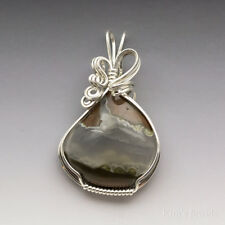 Priday Thunderegg Agate Sterling Silver Wire Wrapped Pendant