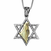 Pendant Star of David w/ Map of Country Israel Gold 9K Sterling Silver Necklace