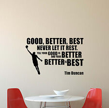 Tim Duncan Wall Decal NBA Quote Gift Vinyl Sticker Basketball Poster Decor 566