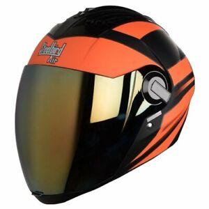 Steelbird Air Sba-2 Full Face Matt Black Orange Motorcycle Helmet Extra Visor-L