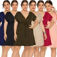 Plus Size Womens Sexy V-neck Strappy Dresses Ladies Summer Holiday Fashion Dress
