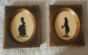 Pair of Vintage Framed Wooden Silhouettes