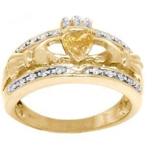 Natural Claddagh Yellow Diamond & 20 Diamond 9ct 9K Solid Gold Celtic Irish Ring