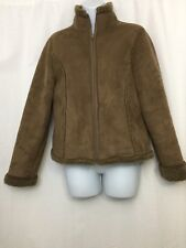 Womens LL Bean Embroidered Coat Sherpa Lined Micro Suede Shearling Jacket Sz S