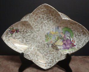 Empire England #740 Serving Plate - Gold Chintz Flowers with Crinoline Lady
