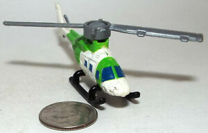 Small Micro Machine Bell 222 Helicopter in Green and White