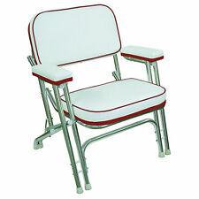Folding White Red Deck Chair Aluminum Frame Fishing Boat Vinyl Plastic Seat New