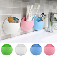Home Bathroom Toothbrush Wall Mount Racks Holder Sucker Suction Cups Organizer