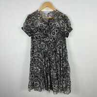 Diane von Furstenberg DVF Womens Dress 10 Black White Floral Short Sleeve Silk