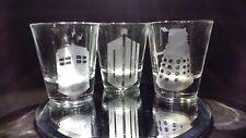 Dr. Who 3 shot glass set dalek logo tardis gift idea whovian fan doctor fast new