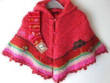 Catimini Designer Girls Winter Pink Hooded Poncho & Socks Size 2, 12-24 Months