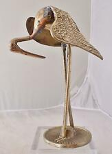 "Vintage Brass Crane Figurine Solid  8.25"" tall"