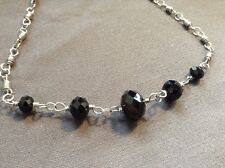 Handmade Silver Wire Wrapped Necklace With Faceted Black Jet Glass Beads