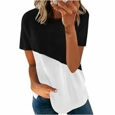 Womens Short Sleeve Summer Loose T Shirts Tee Ladies Casual Tunic Tops Blouse UK