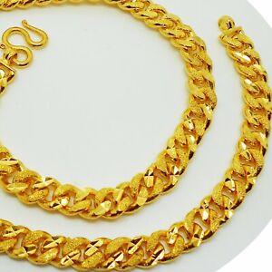 Men's Heavy Deluxe 22K 23K 24K THAI BAHT YELLOW GOLD GP NECKLACE 29 inch Jewelry