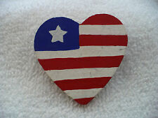 TO- WOODEN HEART RED WHITE AND BLUE  PIN BADGE #41131