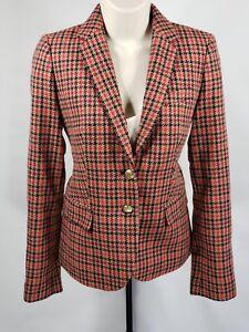 J CREW Houndstooth Brown Red Black Schoolboy Blazer Brass Buttons - Size 0 - XS