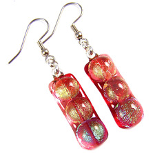 "Polka Dot Patterned Dangle Surgical 1"" Dichroic Glass Earrings Red Orange Green"