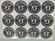 STICKERS JACK DANIELS OLD No7 BRAND ROUND 12PCS- 45mm-NEW!!!